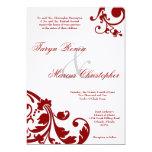 5x7 Crimson Red Floral Linen Wedding Invitation Personalized Invitations