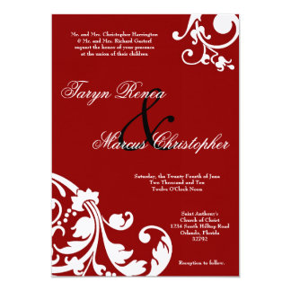 5x7 Crimson Red Floral Linen Wedding Invitation Invites