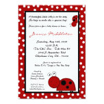 5x7 Crimson Red Lady Bug Baby Shower Invitation