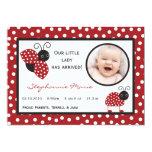 5x7 Crimson Red Lady Bug Photo Birth Announcement Personalized Invites