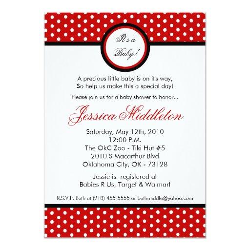 5x7 Crimson Red Polka Dot Baby Shower Invitation
