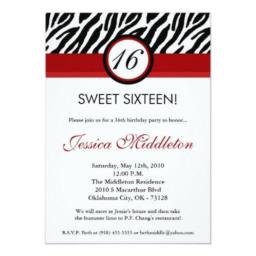 5x7 Crimson Red Zebra16th Birthday Invitation