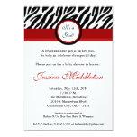 5x7 Crimson Red Zebra Print Baby Shower Invitation