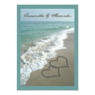 5x7 Custom Sand Hearts Beach Destination Wedding Card