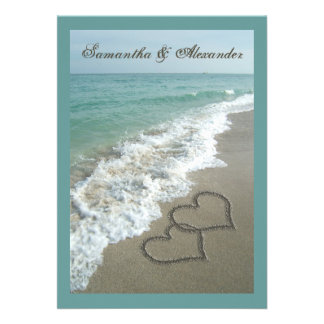 5x7 Custom Sand Hearts Beach Destination Wedding Personalized Announcement