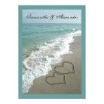5x7 Custom Sand Hearts Beach Destination Wedding Personalized Announcement
