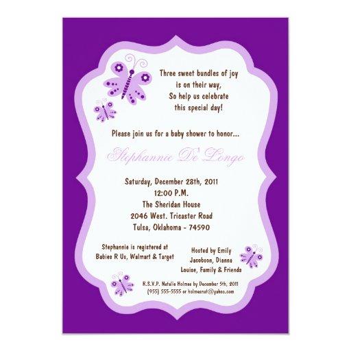 5x7 Dark Purple Butterfly Baby Shower 5x7 Paper Invitation Card