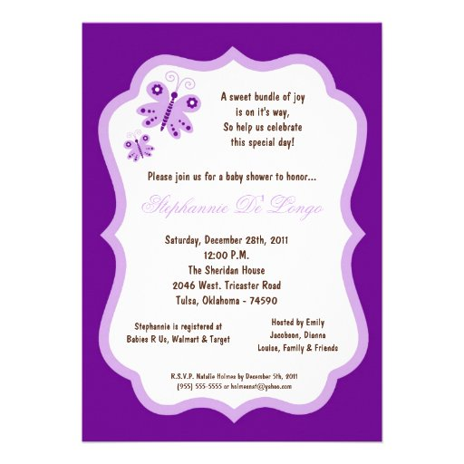 Purple Butterfly Baby Shower Invitations for your inspiration to make invitation template look beautiful