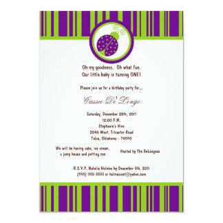 5x7 Dark Purple Lady Bug Birthday Party Invite