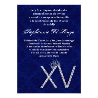 5x7 Diamond Saphir Quinceanera Birthday Invitation