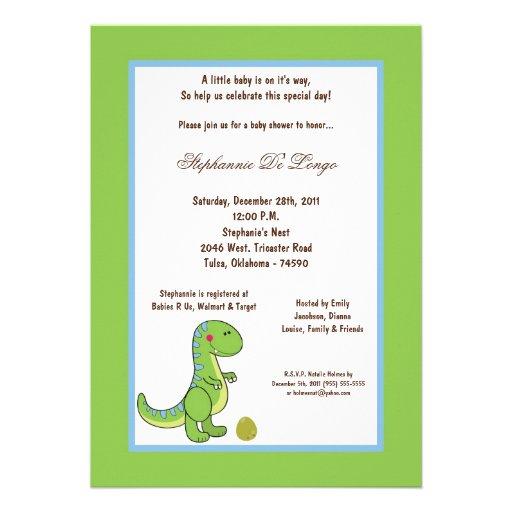 5x7 Dinosaur Baby Shower Invitation