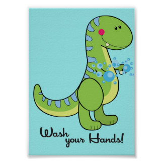 5x7 Dinosaur Wash Your Hands Bathroom Wall Art