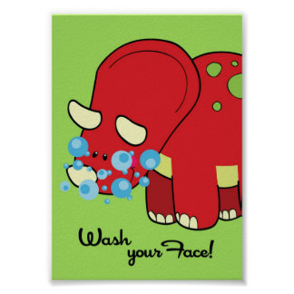 5x7 Dinosaur World Wash Your Face Bathroom WallArt Poster