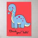 5x7 dinosaurio WorBrush su arte de la pared del cu Posters