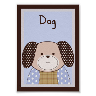 "5x7 ""Dog"" Graham Crackers Baby Bedding Wall Art"