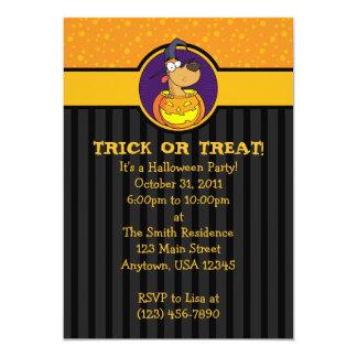 5x7 Dog in Jack-o-Lantern Halloween Invitations