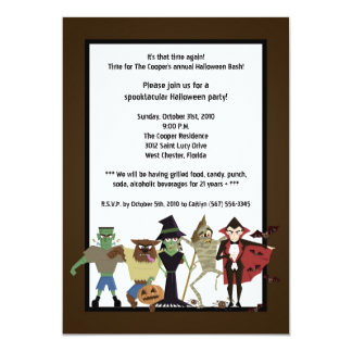 5x7 DraculaMonster Halloween Bash Party Invitation