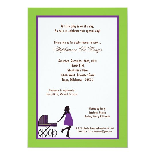 5x7 Electric Green Buggie Baby Shower Card
