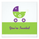 5x7 Electric Green Buggie Baby Shower 5.25x5.25 Square Paper Invitation Card