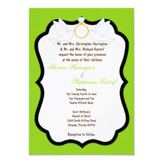 5x7 Electric Green Dove Diamond Wedding Invitation