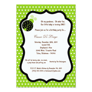 5x7 Electric Green Lady Bug Birthday Party Invite