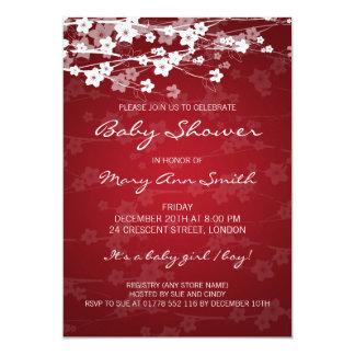 5x7 Elegant Baby Shower Cherry Blossom Red Card