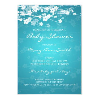 5x7 Elegant Baby Shower Cherry Blossom Turquoise Card