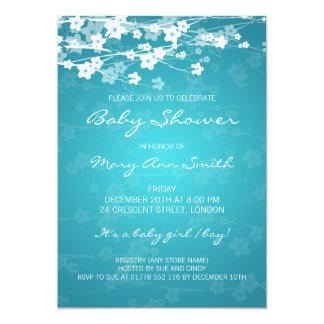 5x7 Elegant Baby Shower Cherry Blossom Turquoise 5x7 Paper Invitation Card