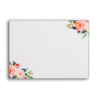 5x7 Elegant Chic Watercolor Floral Decor Custom Envelope