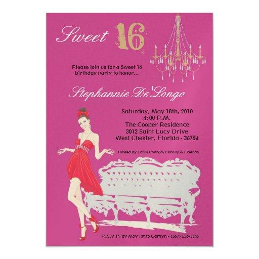 5x7 Elegant Party Sweet 16 Birthday Invitation
