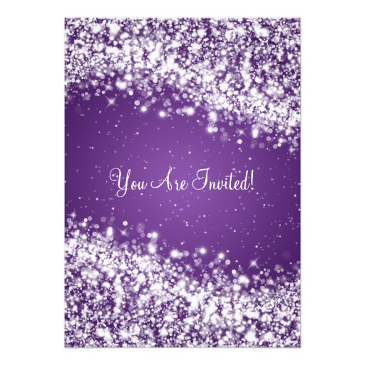 5x7 Elegant Wedding Sparkling Wave Purple Custom Announcements