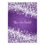 5x7 Elegant Wedding Sparkling Wave Purple 5x7 Paper Invitation Card