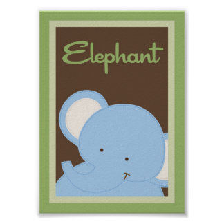 "5x7 ""Elephant"" Jungle Safari Baby Bedding Wall Art"