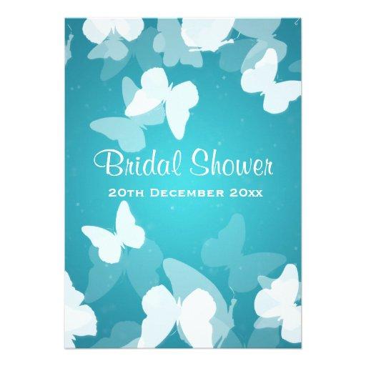 5x7 Elusive Butterflies Blue Bridal Shower Invite