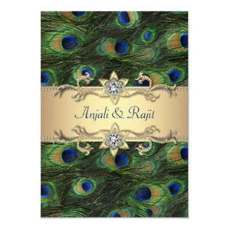 5x7 Emerald Green Elegant Peacock Wedding Card