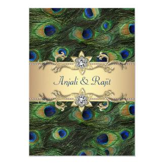 "5x7 Emerald Green Elegant Peacock Wedding 5"" X 7"" Invitation Card"