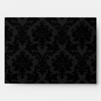 5x7 Envelope Black Damask Outside Inside