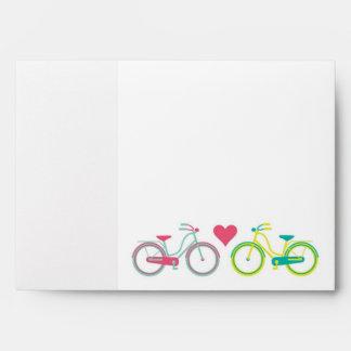 5x7 Envelope Love Bikes Outside Teal Inside
