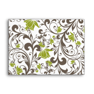 5x7  Envelope Option 1 Green Floral with Branch