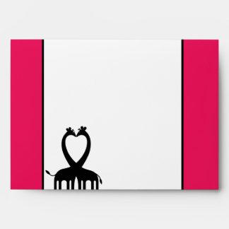 5x7  Envelope Option 1 Hot Pink/Black Giraffe Love