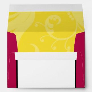 5x7  Envelope Option 3 Hot Pink/Yellow Swirls Dots
