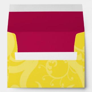 5x7  Envelope Option 5 Hot Pink/Yellow Swirls Dots