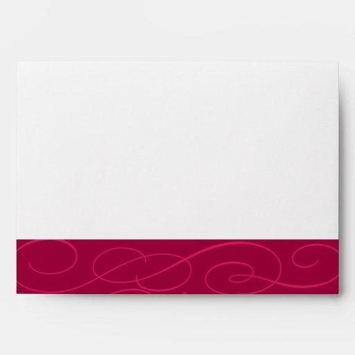 5x7  Envelope Option 5 Raspberry Pink Loops/Swirls