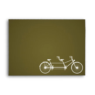 5x7 Envelope Whimsical Brown Double Bike Bicycle