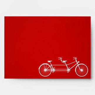 5x7 Envelope Whimsical Crimson Red Double Bike