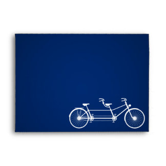 5x7 Envelope Whimsical Navy Double Bike Bicycle