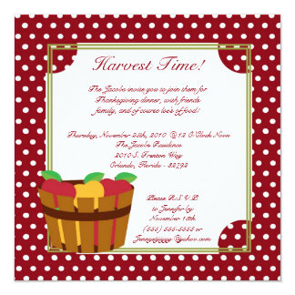 5x7 Fall Apple Bin Thanksgiving Party Invitation