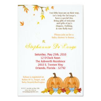 5x7 Fall Leaves TWIN Boy Baby Shower Invitation