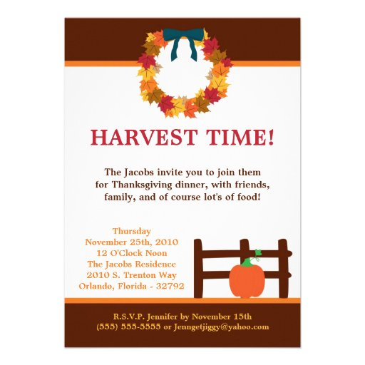 5x7 Fall Leaves Wreath Pum Thanksgiving Invitation