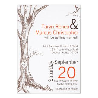5x7 Fall Tree Initial Carved Wedding Invitation